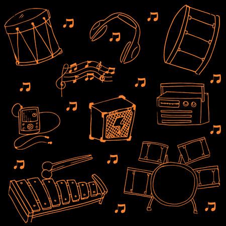 Doodle of music set on black backgrounds vector illlustration