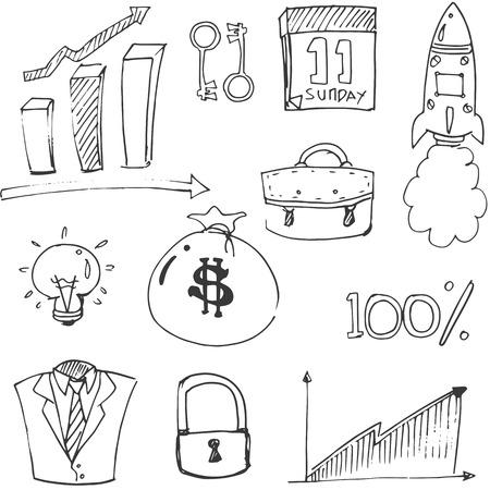 Doodle of business element vector art illustration