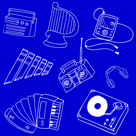 Stock collection music on blue backgrounds vector illustration