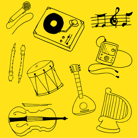 Doodle of theme music stock collection vetcor illustration