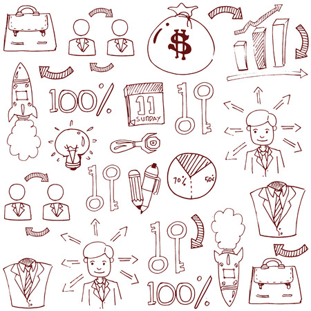 Doodle van het bedrijfsleven stock collectie Stockfoto - 61330870