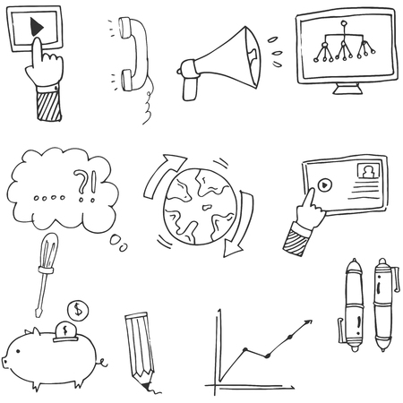 Doodle Business icons hand draw vector art illustration