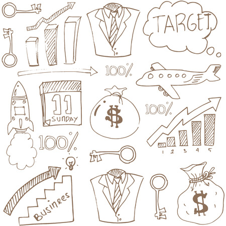 Doodle of business theme stock collection vector art