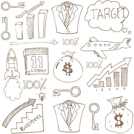 Doodle van zakelijke thema stock collectie vector kunst Stockfoto - 61330886