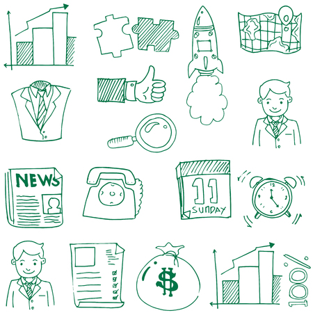 Doodle of business theme hand draw Иллюстрация