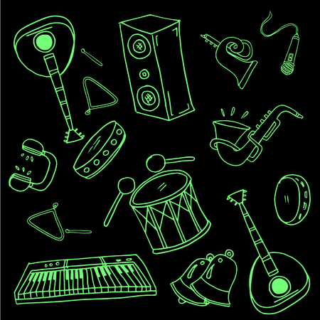 Doodle of music set black green vector art