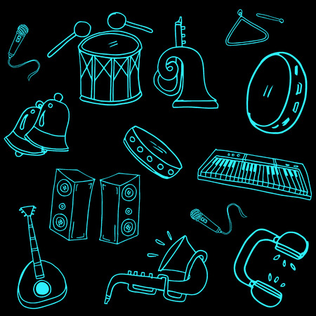 Doodle of music element set hand draw