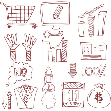 Doodle of business flat image stock collection vector