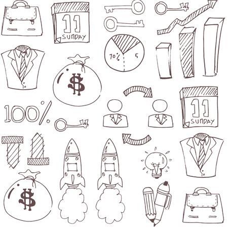 Doodle of flat image business vector art illustration Иллюстрация