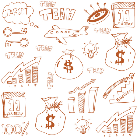 Doodle of business theme stock vector art illustration Иллюстрация