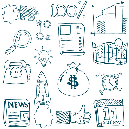 Doodle of business stock collection vector art illustration