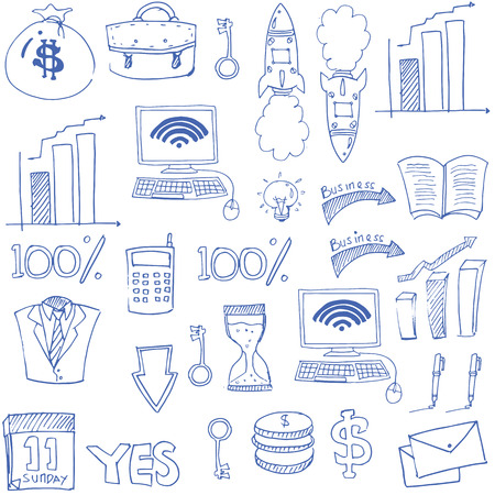 Doodle of hand draw business theme vector art Иллюстрация