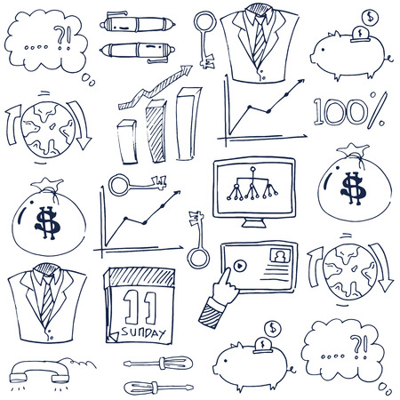 Doodle of business vector collection with hand draw Иллюстрация