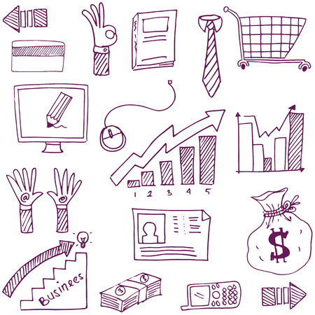 Doodle of design business theme vector illustration Иллюстрация