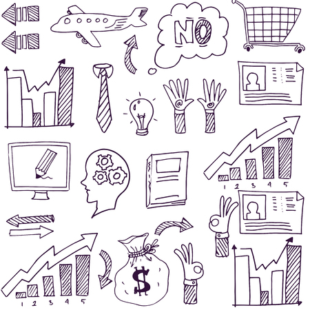 Doodle van de hand trekt het bedrijfsleven stock vector illustratie Stockfoto - 61330923