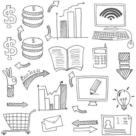 Doodle van het bedrijfsleven stock flat vector kunst illustratie