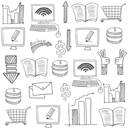 Doodle of business collection stock vector art Иллюстрация