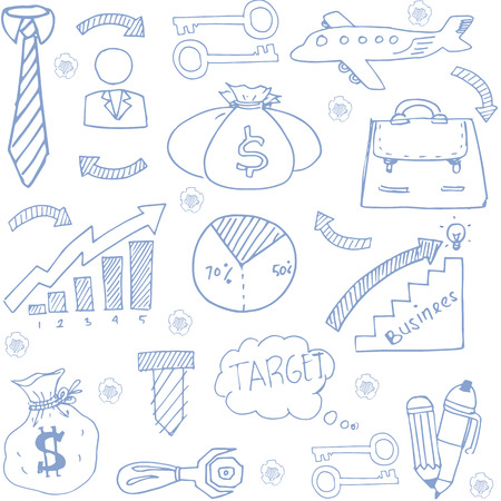 Doodle of vector art business stock collection Иллюстрация