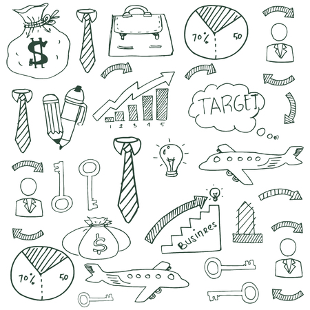 Doodle of image business vector art stock collection Иллюстрация