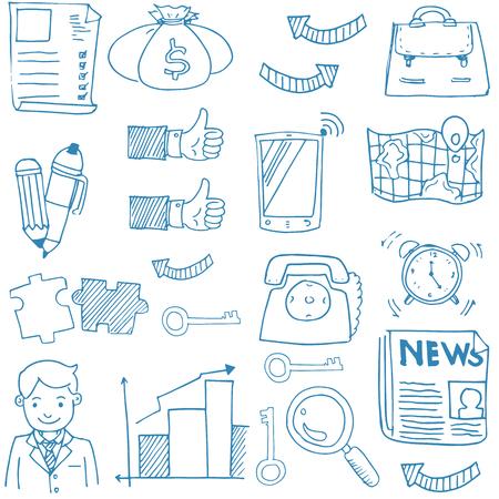 Doodle van het bedrijfsleven stock collectie Stock Illustratie