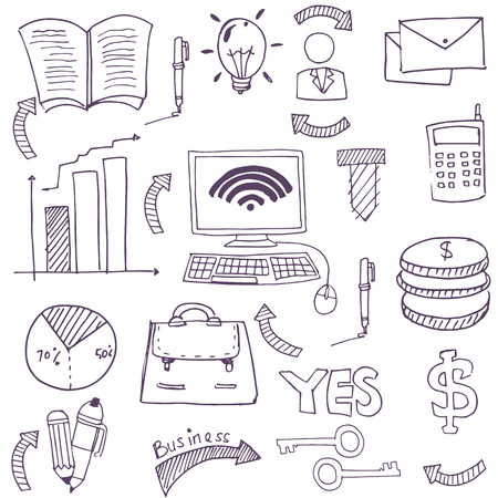 Doodle of business stock collection theme vector