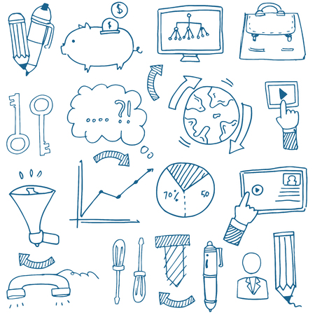 business image: Doodle of business image with hand draw Illustration