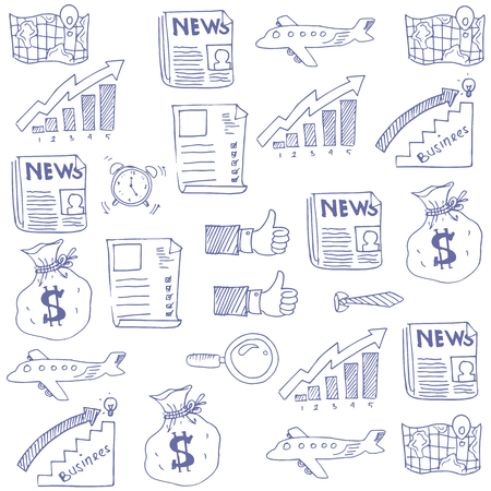 Doodle of hand draw business theme stock vector illustration