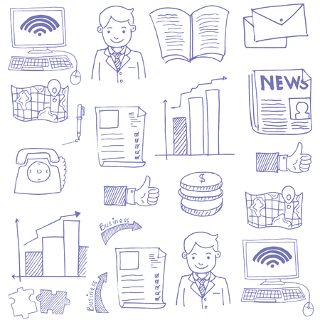 Doodle of business theme sketch vector illustration