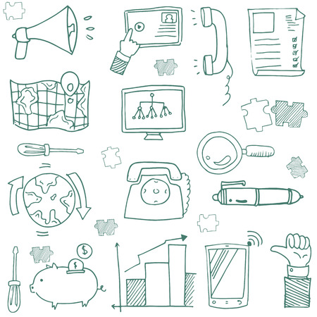 Doodle of hand draw business icon set vector art