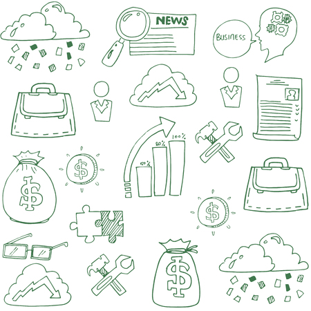 Doodle of business finance elements vector art