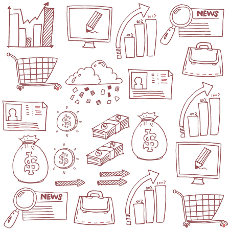 Doodle of business image stock collection vector art Stock Illustratie