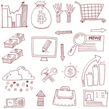 Doodle of business element icon set