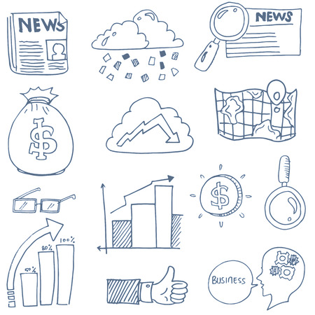 Doodle of business finance object set vector illustration
