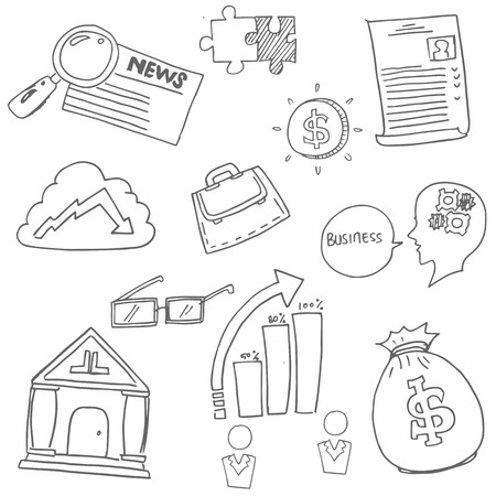 Doodle of Business icon hand draw vector illustration Иллюстрация