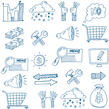 Doodle van de hand trekt het bedrijfsleven vector kunst stock collectie Stockfoto - 61331144