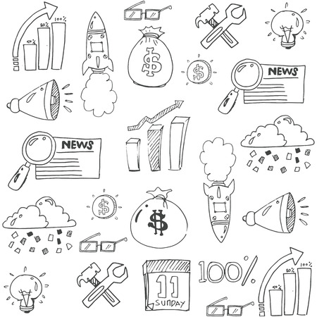 Doodle of design business icon set stock collection