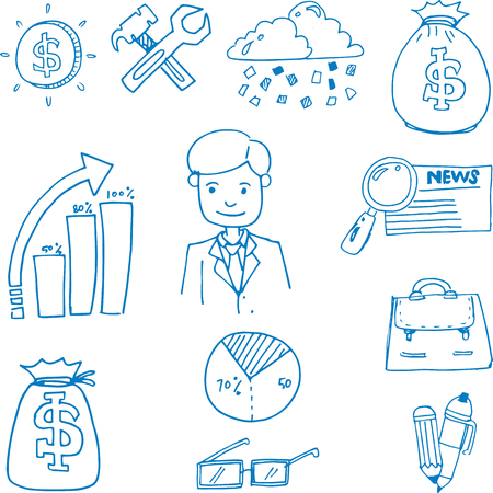 Doodle of business object set hand draw Иллюстрация