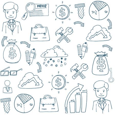 Doodle van zakelijke element set met hand tekenen Stockfoto - 61331148
