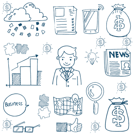Doodle of business set object stock collection Иллюстрация