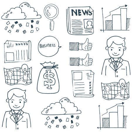 Doodle of business symbol set vector art