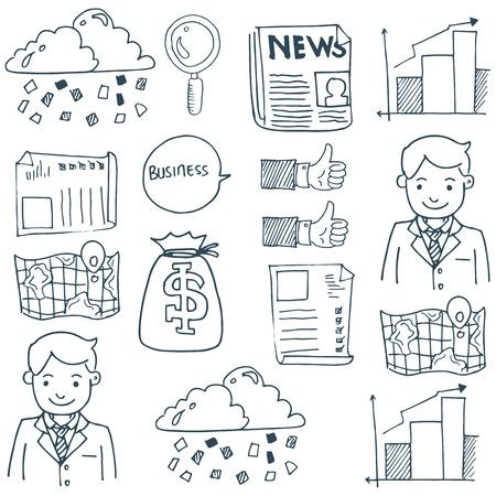 Doodle van zakelijke symbool set vector kunst Stockfoto - 61331238