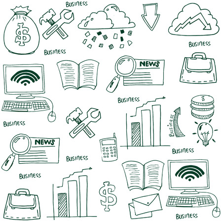 Doodle of business symbol stock collection Иллюстрация