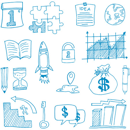 Doodle of business set symbol vector illustration