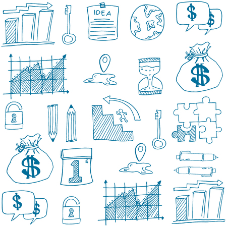 Doodle of symbol business object stock collection