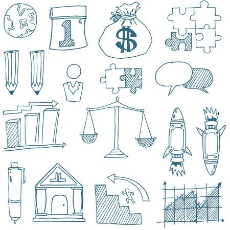 Doodle van het bedrijfsleven vector kunst op een witte achtergrond