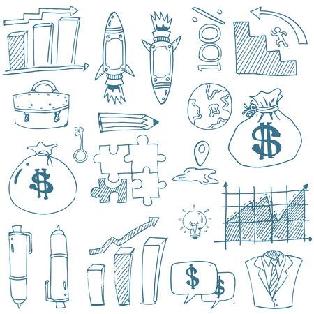 Doodle van zakelijke element vector kunst Stockfoto - 61331244