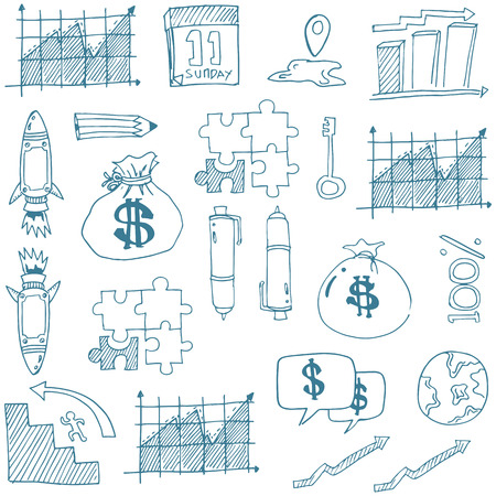 Doodle of vector art business theme stock collection Stock Illustratie