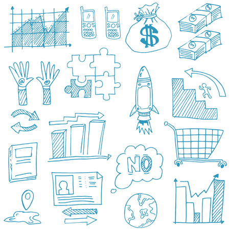 Doodle of business symbol hand draw Stock Illustratie