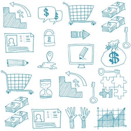 Doodle van symbool zakelijke pictogram vector kunst illustratie