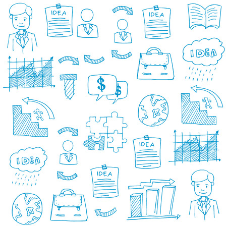 Doodle of business set element vector art illustration Иллюстрация